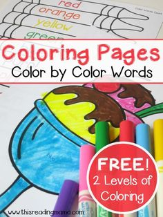Simple Color Words Coloring Pages ~ 20 pages of coloring fun | This Reading Mama