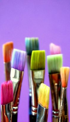 ~ It's a Colorful Life ~ Love art supplies, paint brushes.Reminds me of my artistic Dad. Happy Colors, True Colors, All The Colors, Bright Colors, Warm Colors, Taste The Rainbow, Over The Rainbow, World Of Color, Color Of Life