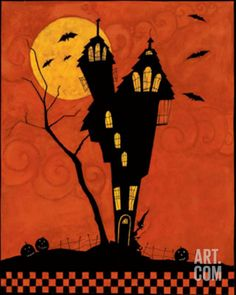 Haunted House Silhouette Art Print by Dan Dipaolo at Art.com