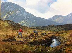 Cutting The Turf by Eileen Meagher Irish Landscape, Irish Art, Connemara, Contemporary Paintings, Dublin, Landscape Paintings, Folk Art, Imagination, Ireland