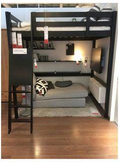 Boys Loft Beds, Loft Beds For Teens, Bedroom Ideas For Small Rooms Women, Small Room Bedroom, Room Decor Bedroom, Dorm Room, Ikea Loft Bed Hack, Ikea Boys Bedroom, Boy Bedrooms