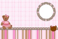 Ursinha de Vestido Marrom e Rosa – Kit Completo com molduras para convites, rótulos para guloseimas, lembrancinhas e imagens!  Fazendo a Nos...