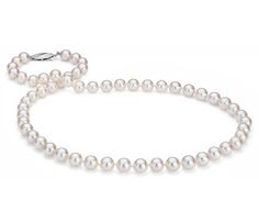 Classic Akoya Cultured Pearl Strand Necklace in 18k White Gold #BlueNile #MothersDay #jewelry