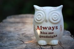 anniversary - good thing to remember after a few years :-) Owl decor  always kiss me good night by claylicious, $32.00