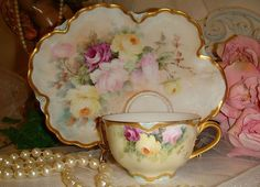 HAVILAND - Limoges FRANCE - Luncheon Plate - Matching Tea Cup - Hand from onlyfinelines on Ruby Lane
