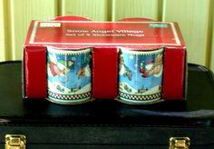 Sakura Debbie Mumm Snow Angel Village Snowman 4 Stoneware Coffee Tea Mug Set