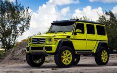 Download wallpapers 4k, Mercedes-Benz G550, Gelendvagen, 2017 cars, HRE Wheels, tuning, lime Gelendvagen, SUVs, Mercedes