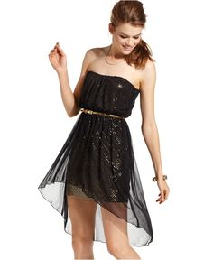 kinda cute!! high-low dress black and gold sparkles
