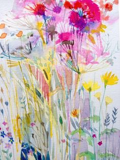 Original Watercolour Floral Painting- Delicate Wild Flowers- by Annabel Burton