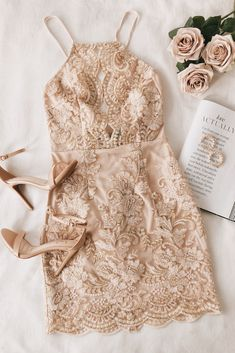 The Lulus Never Miss A Chance Beige Embroidered Lace Cutout Mini Dress will bring up your confidence! Chic mini with a front cutout and A-line silhouette. Hoco Dresses, Cute Dresses, Beautiful Dresses, Formal Dresses, Lace Homecoming Dresses, Awesome Dresses, Gorgeous Dress, Classy Outfits, Cute Outfits