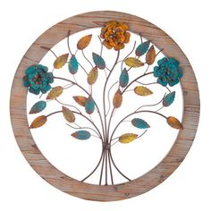 Round Tree Wood & Metal Wall Decor