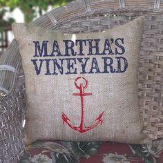 Marthas Vineyard Beach Burlap Pillow with Anchor