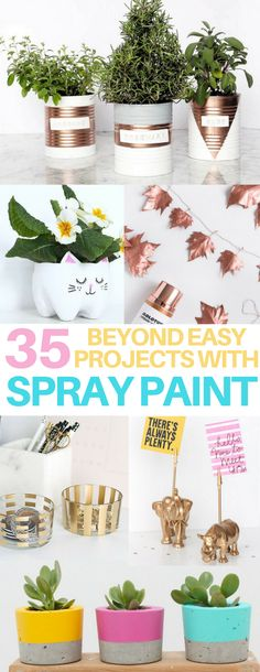 These DIY spray paint projects are AMAZING! I can't believe how quick, easy & cheap it is to upcycle old things I had around the house. DIY succulent plant pots, office supplies, garlands, indoor herb gardens...you can make it all with these brilliant spray paint hacks!