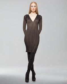 Ribbed Long-Sleeve Cashmere-Silk Dress by Akris at Bergdorf Goodman.