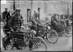 This photo taken in the early 1900's in Italy, shows policemen with their motorbikes, looking to camera. Image taken by the Bain News Service.