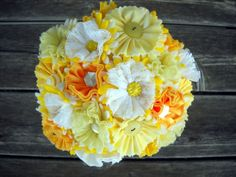 Custom Made Button Wedding Bouquets Fabric Satin and Lace