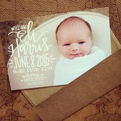 Check out the announcement for this little cutie! Photo-based cards are back in the etsy shop - order your announcements and/or thank you's in sets of 25 with your choice or white or kraft paper envelopes #laurenishdesign #laurenish Pretty Letters, Paper Envelopes, Kraft Paper, Hand Lettering, Announcement, Etsy Shop, Instagram Posts, Check, Cards