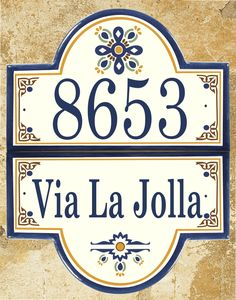 By Classy Plaques Studios - A truly artistic compliment to your Estates entryway and your outdoor decor. (http://www.classyplaques.com/talavera-address-plaque-estate-size/)