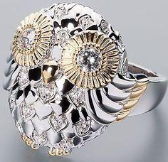Ö.1232 Eulen-Ring 925er Silber rhodiniert teilvergoldet Zirkonia weiß RW18 de.picclick.com