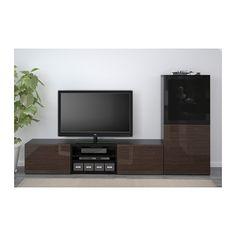 BESTÅ TV storage combination/glass doors - black-brown/Selsviken high gloss/brown smoked glass, drawer runner, soft-closing - IKEA