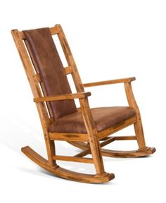 Warm and inviting, this rustic oak wood rocker chair rounds out a design scheme for a casual space. Seat height is 15 high from floor. Style # at Lamps Plus. Classic Furniture, Large Furniture, Unique Furniture, Kids Furniture, Rustic Furniture, Kitchen Furniture, Furniture Stores, Entryway Furniture, Brown Cushions