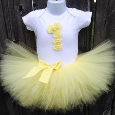 Yellow Tutu Set and Matching Headband for First Birthday | Soft Yellow Birthday Outfit |  1st or 2nd Birthday | Other Colors Available by Zobows on Etsy