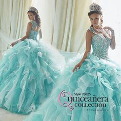 This teal and white Quinceanera dress is perfect for a under the sea quince party theme. The bodice is incredible and the beaded straps add a unique touch. Stop by to see and try it on.  Sueno Celebrations Bridal www.suenocelebrations.com