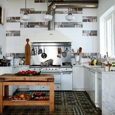 cooker hood with industrial pipes