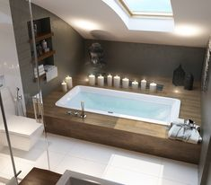 Badezimmer ideen Penthouse Design Apartment Living Penthouse D Design Apartment, Apartment Living, Bedroom Apartment, Living Rooms, Wood Tub, Appartement Design, Attic Bathroom, Bathroom Storage, Small Bathroom