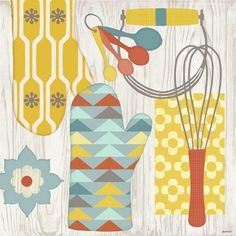 Retro Kitchen-Mitts by Jennifer Brinley | Ruth Levison Design
