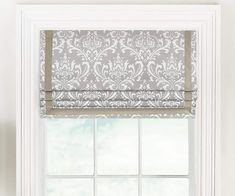 Faux Flat Roman Shade with Grosgrain Ribbon: Premier Prints Ozbourne (Damask Print) Blinds For Windows, Curtains With Blinds, Roman Blinds, Window Coverings, Window Treatments, Bedroom Valances, Window Valances, Bedroom Windows, Window Blinds