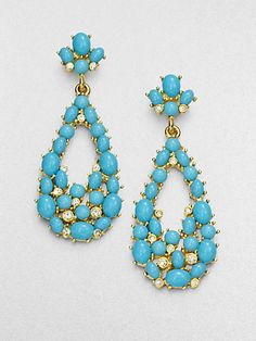 Kenneth Jay Lane - Turquoise Cabochon Drop Earrings - Saks.com