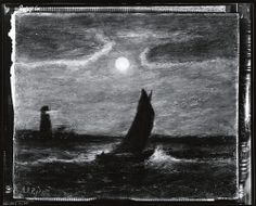 """The Lighthouse,"" Albert Pinkham Ryder (attributed), photograph of painting, photographed by Peter A. Juley & Son ca. 1920, Archives and Special Collections, Smithsonian American Art Museum. I don't know the present location of this painting."