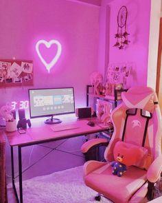 Gaming Room Setup, Pc Setup, Desk Setup, Cute Room Ideas, Cute Room Decor, Pink Games, Kawaii Bedroom, Video Game Rooms, Game Room Design