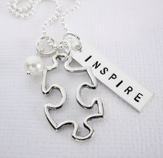 Autism Teacher Gift - Puzzle Piece - INSPIRE -  Personalized Jewelry - Sterling Silver - Patricia Ann Jewelry Designs
