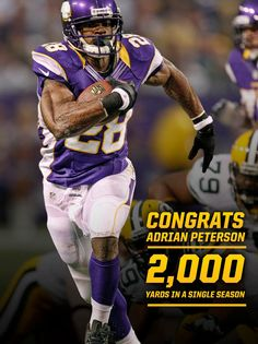 Vikings' Adrian Peterson becomes running back in NFL history to top yards, falls short of the season record by 9 yards. (via AP) Minnesota Vikings Football, American Football, Football Team, Football Helmets, Football Photos, Eric Dickerson, Funny Sports Pictures, Sports Pics, Viking S