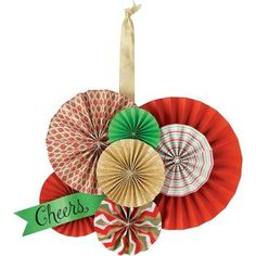 papersource; Rosette Wreath Kit (consider copying idea with season-neutral colors/patterns as an in-between-seasons apt door decoration)