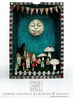"""Happy Moon Looking Over a Fairy Village"" ~ Upcycled Drawer art"