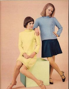bbdc54a59de Yellow  amp  Blue • 1960s Dress Pullover Sweater Patterns • 60s Vintage  Cabled Knitting Pattern
