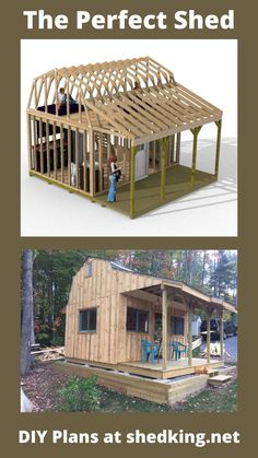 This is one of the neatest shed plans for building a tiny house with nice huge loft for sleeping quarters and 12x16 downstairs for adding a small kitchen, bathroom, and sitting area. You may find a nice discount on the instantly downloadable shed building plans that come with building guide, materials list, and email support from John the developer of these plans. Shed House Plans, Shed Building Plans, Diy Shed Plans, Family House Plans, Small Barn Plans, Small Barns, Porch Plans, Cabin Plans, Livable Sheds
