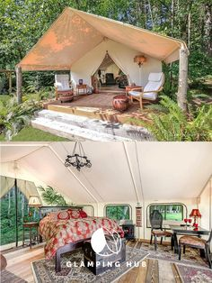Perfect getaway = this safari tent in Washington state. Check out this glamorous luxury tent and enjoy sunsets orca whale sightings and a relaxing evening in this incredibly well decorated glamping site. Camping Glamping, Luxury Camping, Camping Hacks, Camping Ideas, Camping Storage, Camping Essentials, Camping Hammock, Camping Heater, Camping Axe