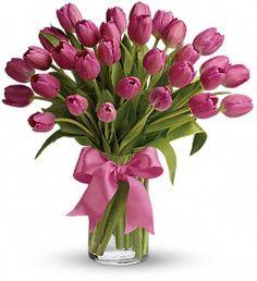 Precious Pink Tulips in Metro New Orleans, Villere's Florist. http://www.villeresflowers.com/metairie-florist/valentines-day-flowers-392309c.asp