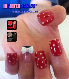 MINNIE MOUSE Polka Dot Inverted Moulds by Glenda Hough. IM's available from www.easynail.co.uk acrylics from www.thenailartist.co.uk