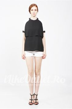Tricou negru cu maneci albe - ASOS