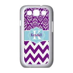 PERSONALIZED SAMSUNG GALAXY S3 or S4 PURPLE CHEVRON DAMASK CASE #Samsung