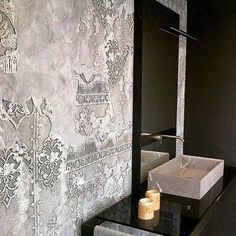 Wall and Deco SANGALLO - old wall patina with raised stencils texturadas interior Wall and Deco SANGALLO Faux Walls, Textured Walls, Interior Walls, Interior Design, Diy Design, Deco Baroque, Venetian Plaster Walls, Old Wall, Wall Finishes