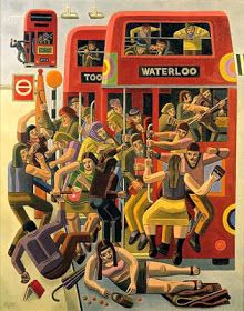 Rush Hour by William Roberts Tristan Tzara, London Transport, Public Transport, Andy Warhol, Peace Poster, Bus Art, Illustrations And Posters, Conceptual Illustrations, Rush Hour