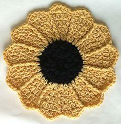 Best Free Crochet » #101 Michigan Sunflower Dishcloth – Maggie Weldon Maggies Crochet