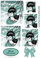 Penguin playing in the snow on turq sledge with bow   pyramids on Craftsuprint - View Now!