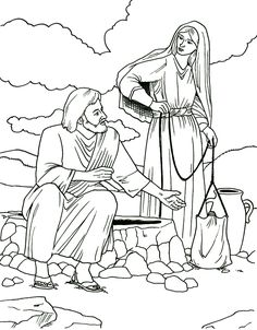 Lesson 15 Woman at the Well:  John 4 - woman at the well coloring page
